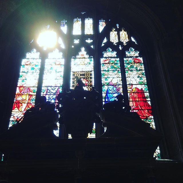 Through the stained glass.