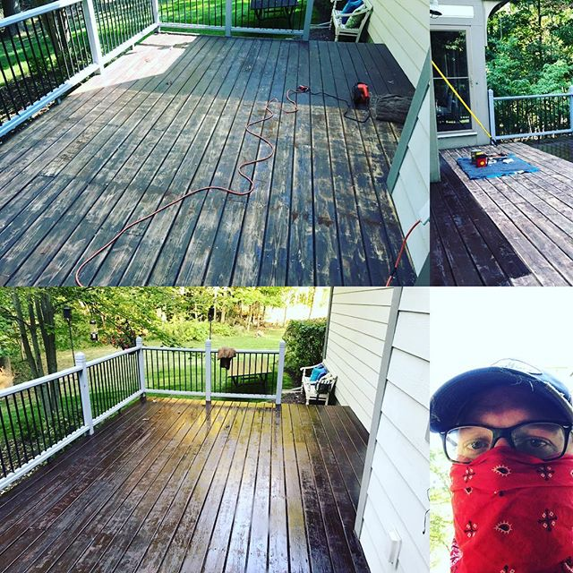 "Restained the deck this weekend. Finally crossed something off the ""honey do list""."