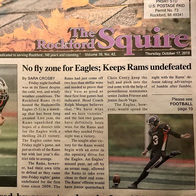Look who's writing football articles on the front page of the local paper! 🤘🐏